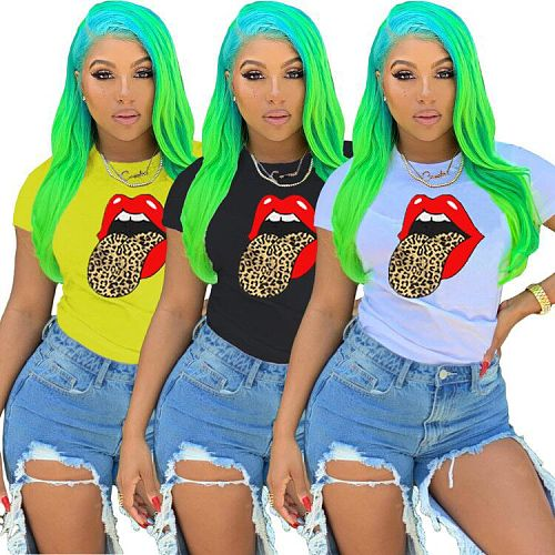 Colorful Lip Printed Round Neck Short Sleeve T-shirt LM-8151