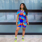 Casual Color Tie-dye Short Sleeve Shorts Two-piece Set MLS-8059