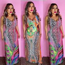 Colorful Print V-Neck Sleeveless Floor-Length Dress MLS-8044