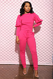 Stylish Solid Color Puffy Sleeve Top and Belted Trousers Two - piece Set SMD-2023