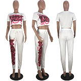 Stylish Monogrammed Navel Top and Sport Pants Two-piece MLS-8026