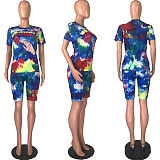Classic Cute Alphabet Gesture Print T-shirt and Shorts Two-piece Set MLS-8054