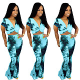 Casual Print V-Neck Short Sleeve Blouse Straight Pants Two-piece Set MLS-8024