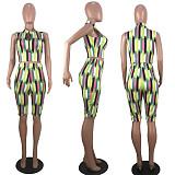 Summertime Printed Sleeveless Straight-leg Shorts Two-piece Set MLS-8035