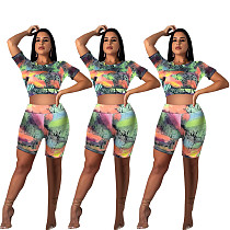 Hot Sales Printed Back Hollowed-Out T-shirt Shorts Two-piece Set MLS-8039