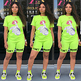 Hot Style Hand-painted Monogrammed Short-sleeved Shorts Two-piece Set MLS-8061