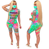 Letter Print Tie-Dyed Short-Sleeved Shorts Two-piece (without mask) MLS-8057
