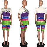 Letter-Orientation Colorful Tie-Dye Printed Short-sleeved Shorts Two-piece Suit MLS-8055