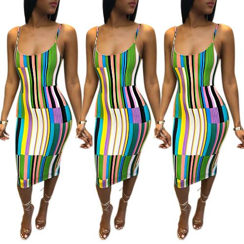 Summer Coloured Striped Condole Belt Dress MLS-8011