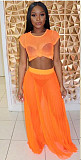 Casual Mesh Orange Short Sleeve Blouse and Long Skirt Two-piece Set MLS-8023
