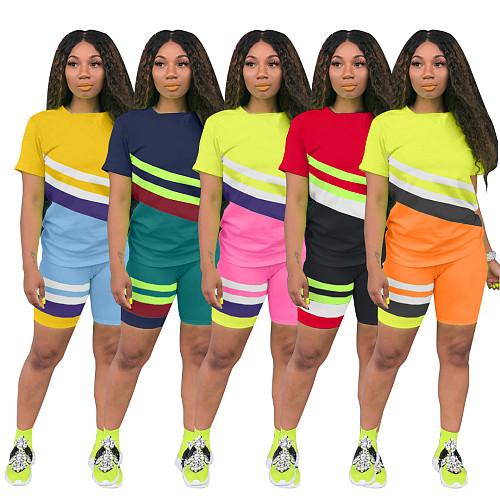 Geometric Stripe Contrast Color Short Sleeve Shorts Sport Two-piece Set BLX-7512