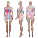Gradual Burning Flower Holes T-shirt and Shorts Two-piece Set ME-562