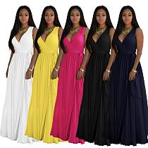 Fashion Solid Color Sleeveless Chiffon V-Neck Dress SMR-9363