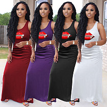 Solid Color Pleated Zipper Lip Print Sleeveless Dress AL-189