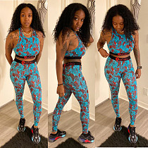2020 New Sleeveless Print Ribbon Vest Trousers 2 Piece Sets BGN-079