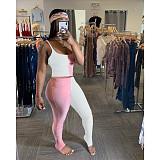 Sling Crop Top Slim Stack Pants 2 Pieces Set MDF-5135