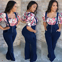 Street Hipster High-Waisted Micro-Flared Denim Overalls LX-6003