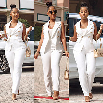 White Vest Coat+Straight Tube Trousers OL Office Two-piece Set AIL-032