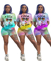 Hot Style Monogrammed Short Sleeve T-shirt and Shorts Two-piece Set SD-0532