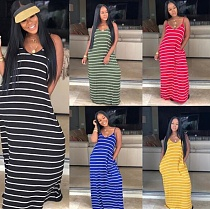 Bohemian Floor-Length Striped V-Neck Halter Dress AIL-036