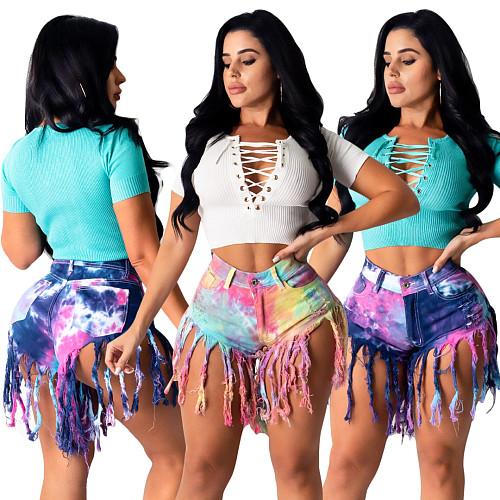 Tie-Dyed Fringed Mottled Mid-Waisted Denim Shorts SH-3797
