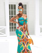 Sexy Print Wrapped Chest Backless High Waist Floor-Length AIL-072