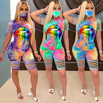 Cotton Burnt Flower Tie-Dye Lip Digital Printing Two-piece Set Without Mask MN-9249