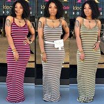 Hot Style Sleeveless High-Waist Striped Floor-Length Dress AIL-031
