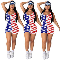Sexy Independence Day Flag-Print Halter Romper YIY-5173