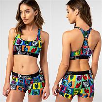 Hot Style Cartoon Print Cropped Vest Sport Shorts Two-piece Set LSL-6276