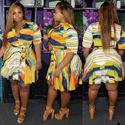 Plus-Size Irregular Striped Printed Polo Neck Dress HEJ-5094