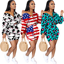 Casual Multi-Color Printed Long Sleeve T-shirt and Shorts Set OYF-8198