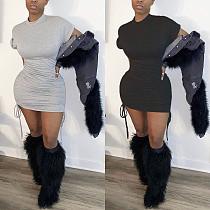 Plain Cotton Round Neck Short Sleeves Ruffled Dress MN-9252