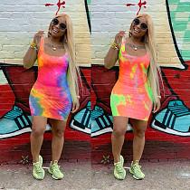 Fashion Tie-Dye Print Sleeveless U Neck Slim Dress OJS-9217