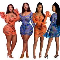 Sexy Gauze Digital Print Flared Sleeve Plus Size Dress OSS-20723