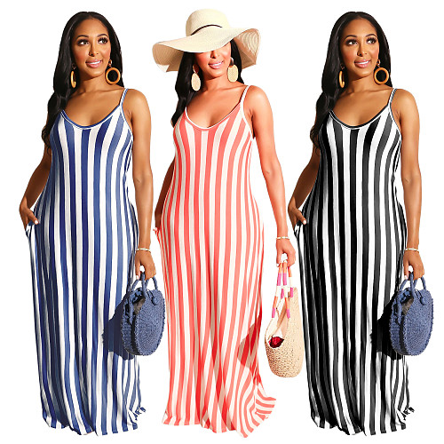 Casual Loose Striped Print Sleeveless V-Neck Dress SMR-9615