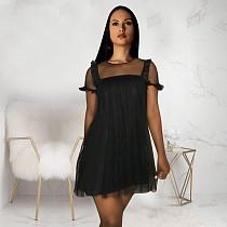 See-Through Gauze Stitching Round Neck Short Sleeve Dress TE-4042
