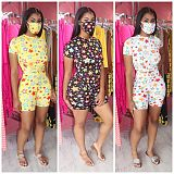 Hot Style Star Print Short-Sleeved Loose T-shirt Shorts Two-piece Set With Mask HM-6321