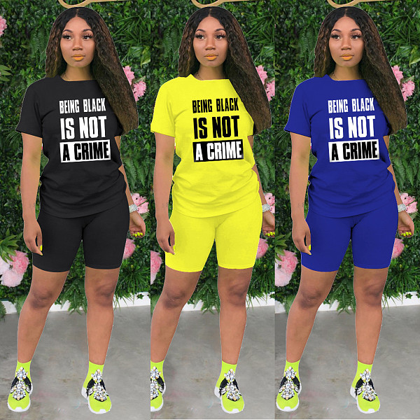 Hot Style Monogrammed Short Sleeve T-shirt and Shorts Casual Two-piece Set IV-8102