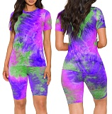 Fashion Tie-Dye Printed Round Neck Short Sleeve Shorts Two-piece Set GS-1838