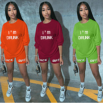Casual Letter-Offset Long Sleeve T-shirt and Shorts Two-piece Set KSN-5143