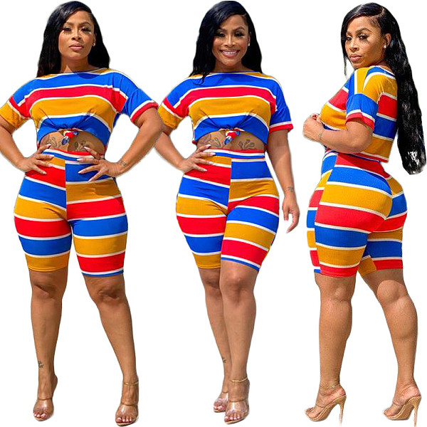 Colorful Striped Printed Short Sleeve Casual Shorts Two-piece Set TK-6095