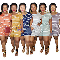 Loose Fit Striped Plus Size Waistband Elastic Romper OSS-20769