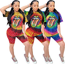 Casual Tie-Dye Lip Print Short Sleeve Shorts Two-piece Set WZ-8280