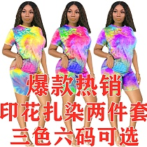 Casual Gradual Tie-Dye Printing Short-Sleeved Shorts Two-piece Set GS-1841