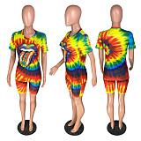 Casual Tie-Dye Lip Print Short Sleeve Shorts Two-piece Set WZ-8280