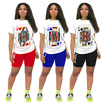White Poker Printed Short Sleeve Tshirt Tight Shorts Set TE-4056