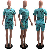 Popular Letter Printing Casual Suit Short Set OY-6198