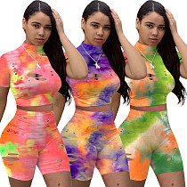 Hot Style Burnt Holes Tie-Dye Movement Two-piece Set MOY-5228