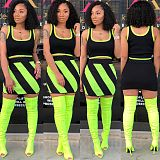 Fashion Fluorescent Color Mosaic Vest+Skirt 2 Piece Set HGL-1367